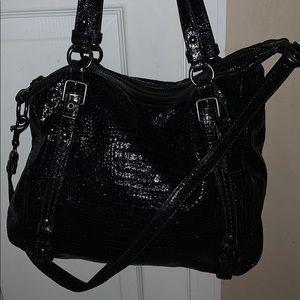 Coach black snake skin handbag